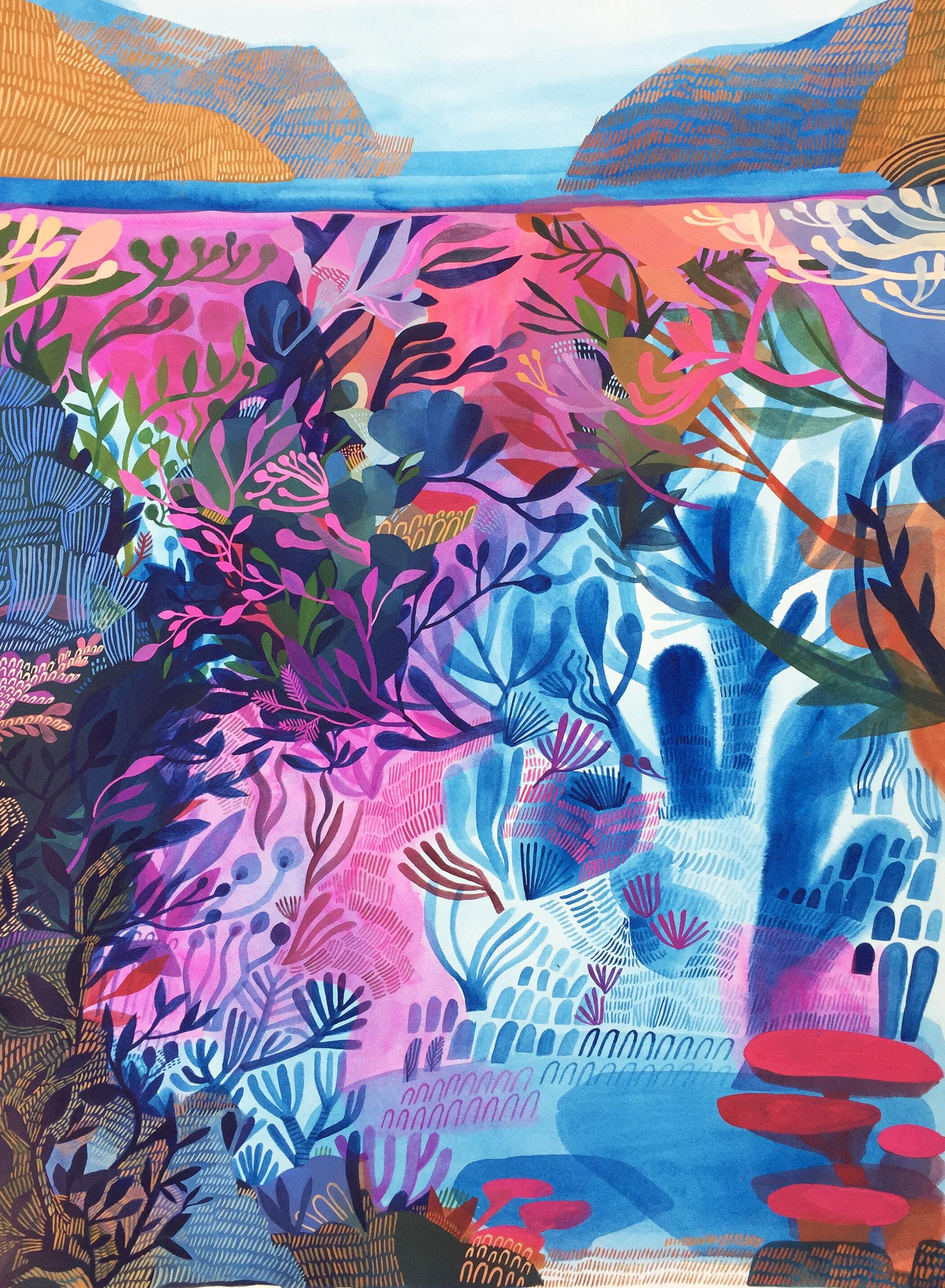 'Tidal Current' / Ashley Amery / 2019 / 56 x 76 cm / Gouache on Paper