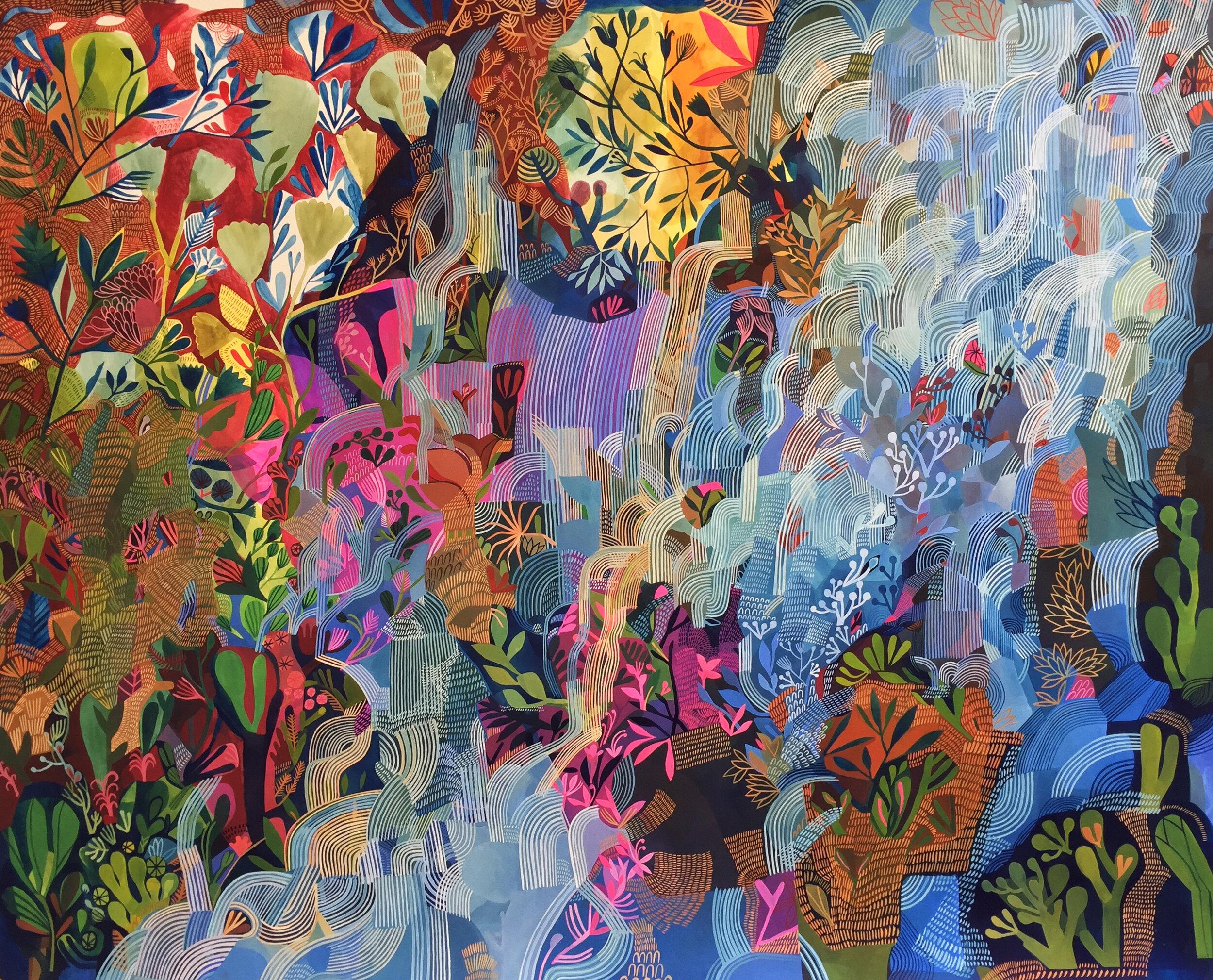 'Tumbling Waterfalls' / Ashley Amery / 2019 / 120 x 150cm / Gouache on Paper