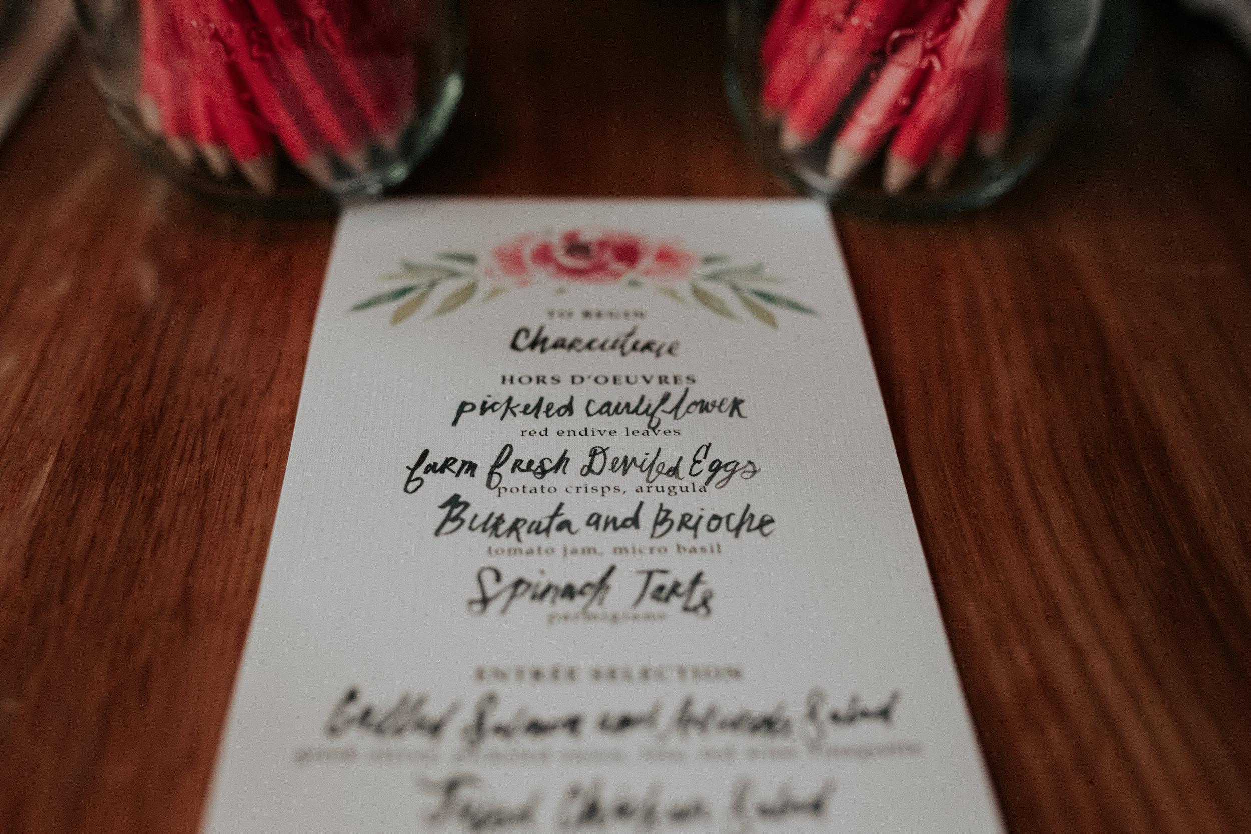 bridal shower watercolor menu