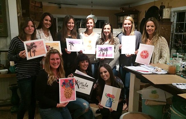 Watercolor and Wine - at Sourced Collective, February 2015