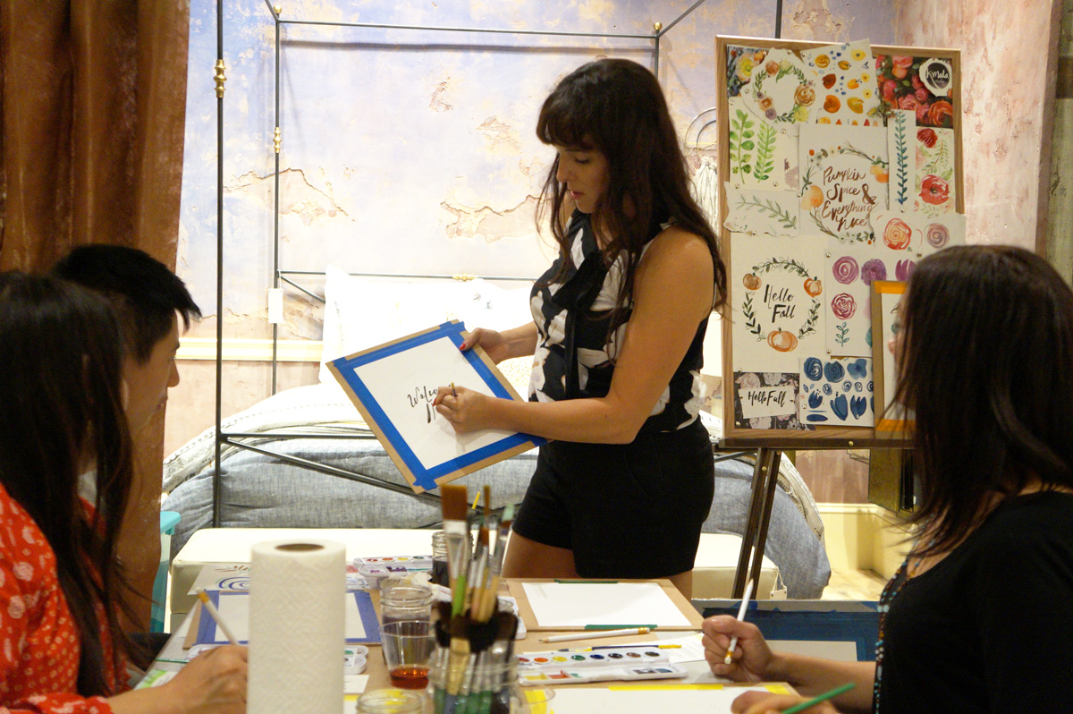 Fall Florals - watercolor workshop at Anthropologie, Fashion Island September 2016