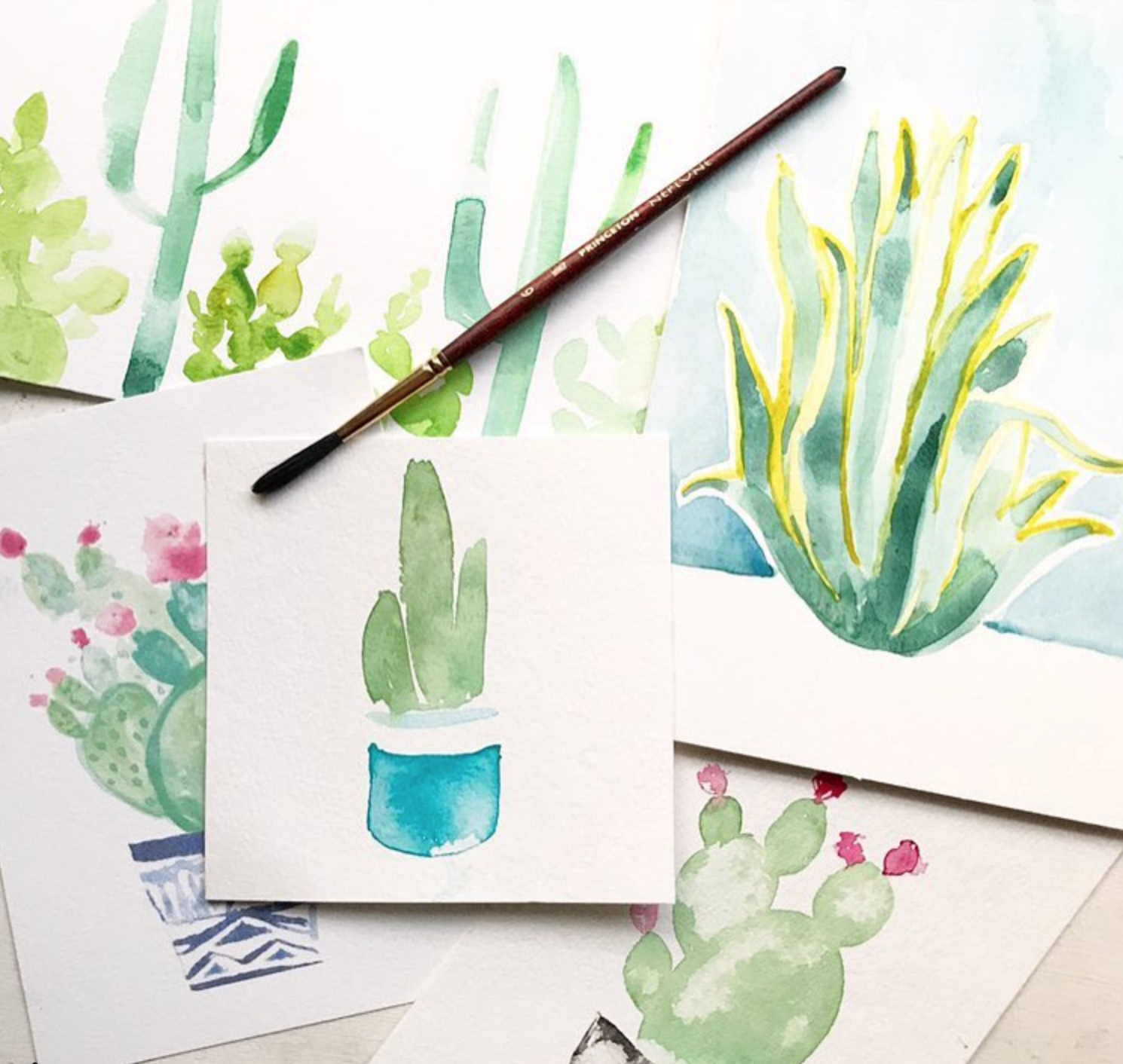 Succulent and cactus Watercolor art by Ladyfolk Studio
