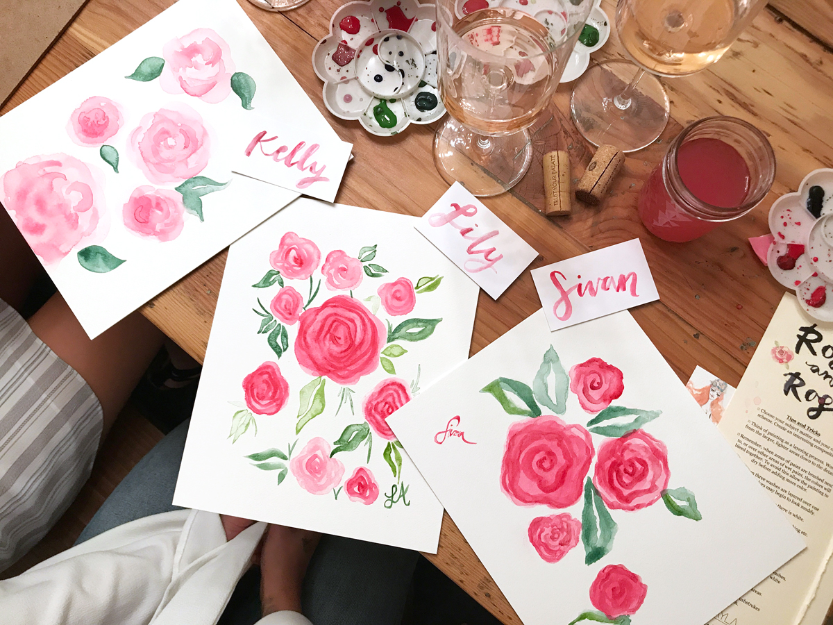 Roses and Rosé Watercolor and Wine Painting Workshop in Santa Monica