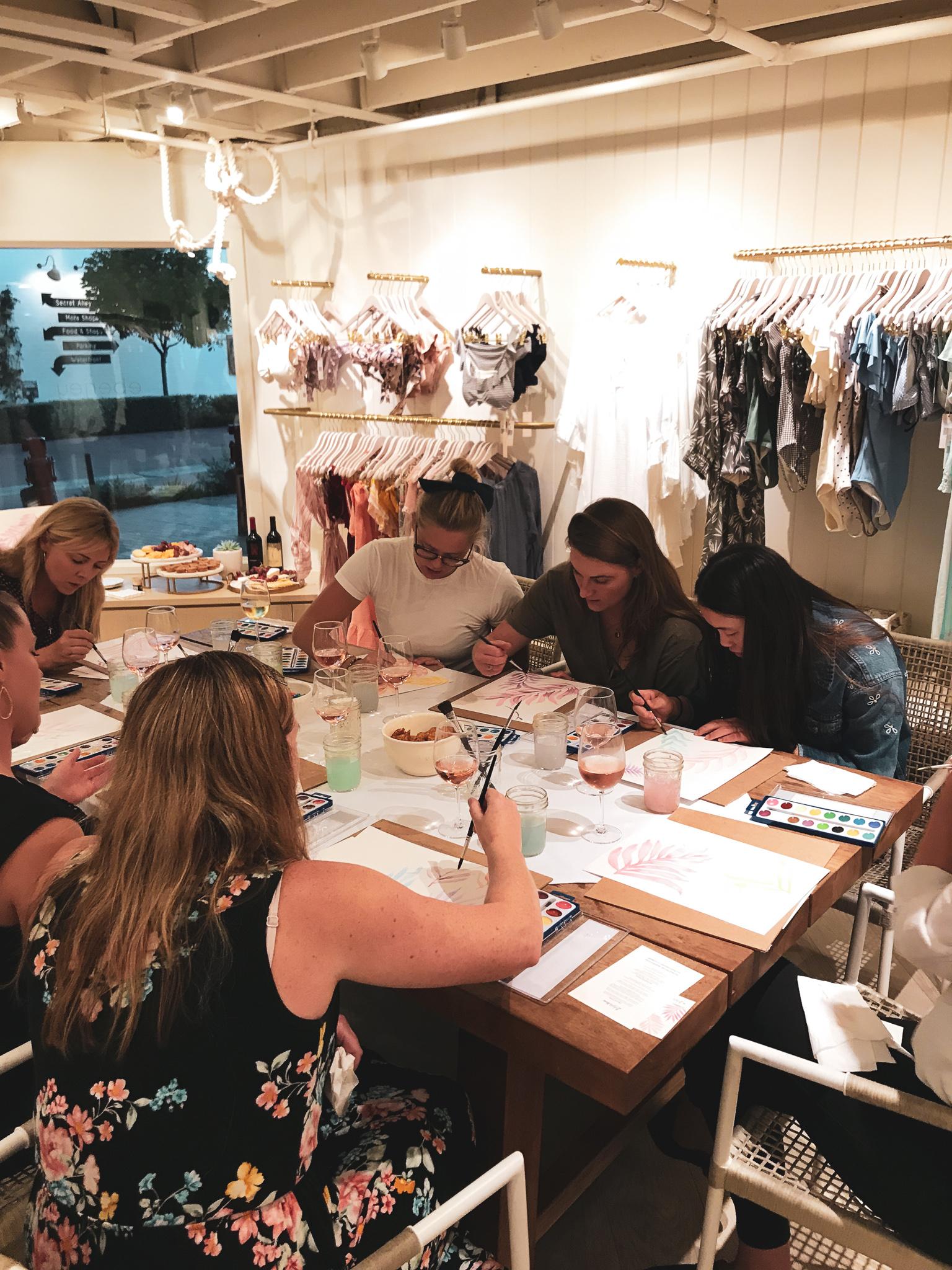 Ladyfolk Studio Watercolor and Wine workshop with Eberjey