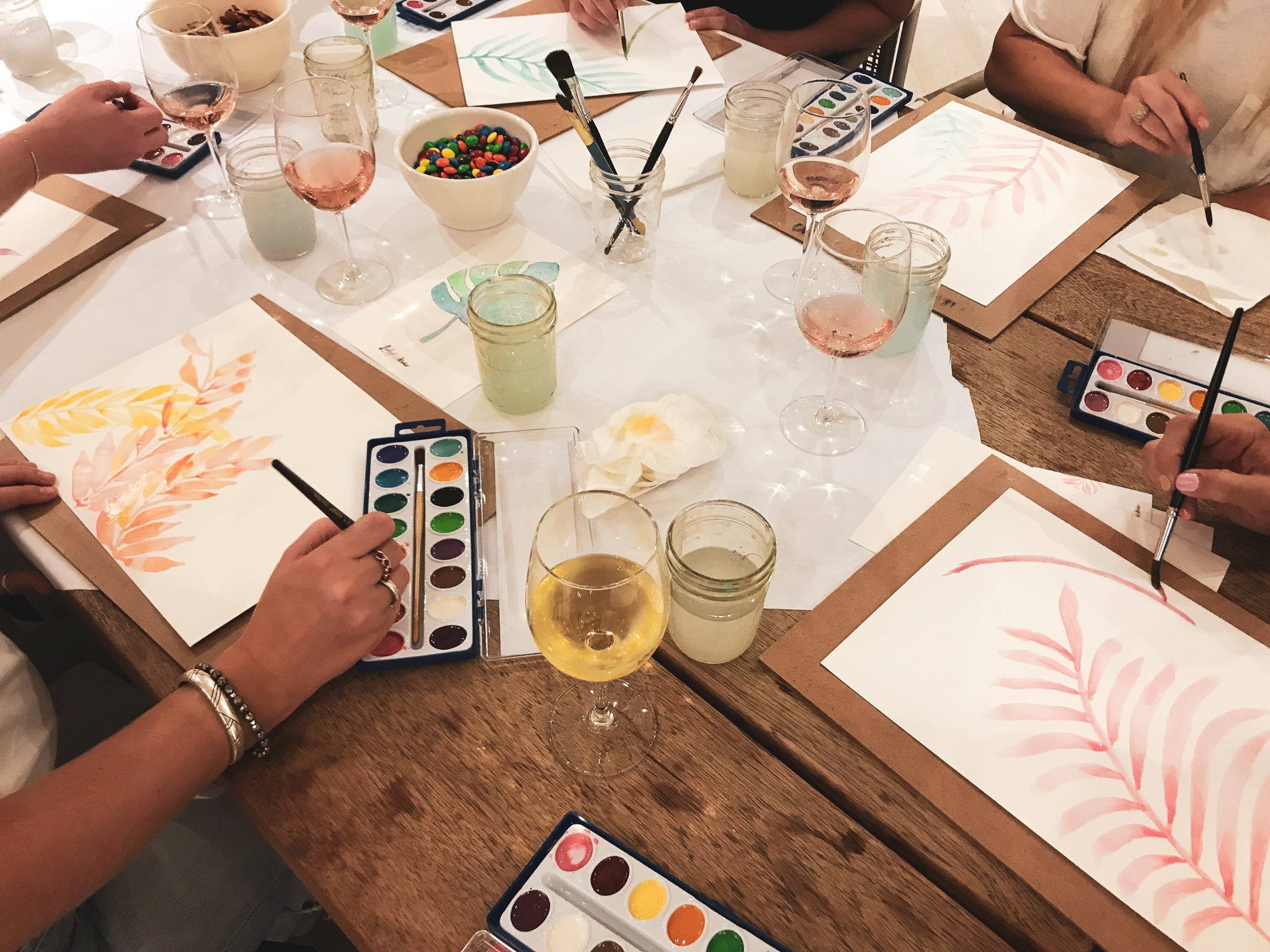 Ladyfolk Studio Watercolor and Wine workshop