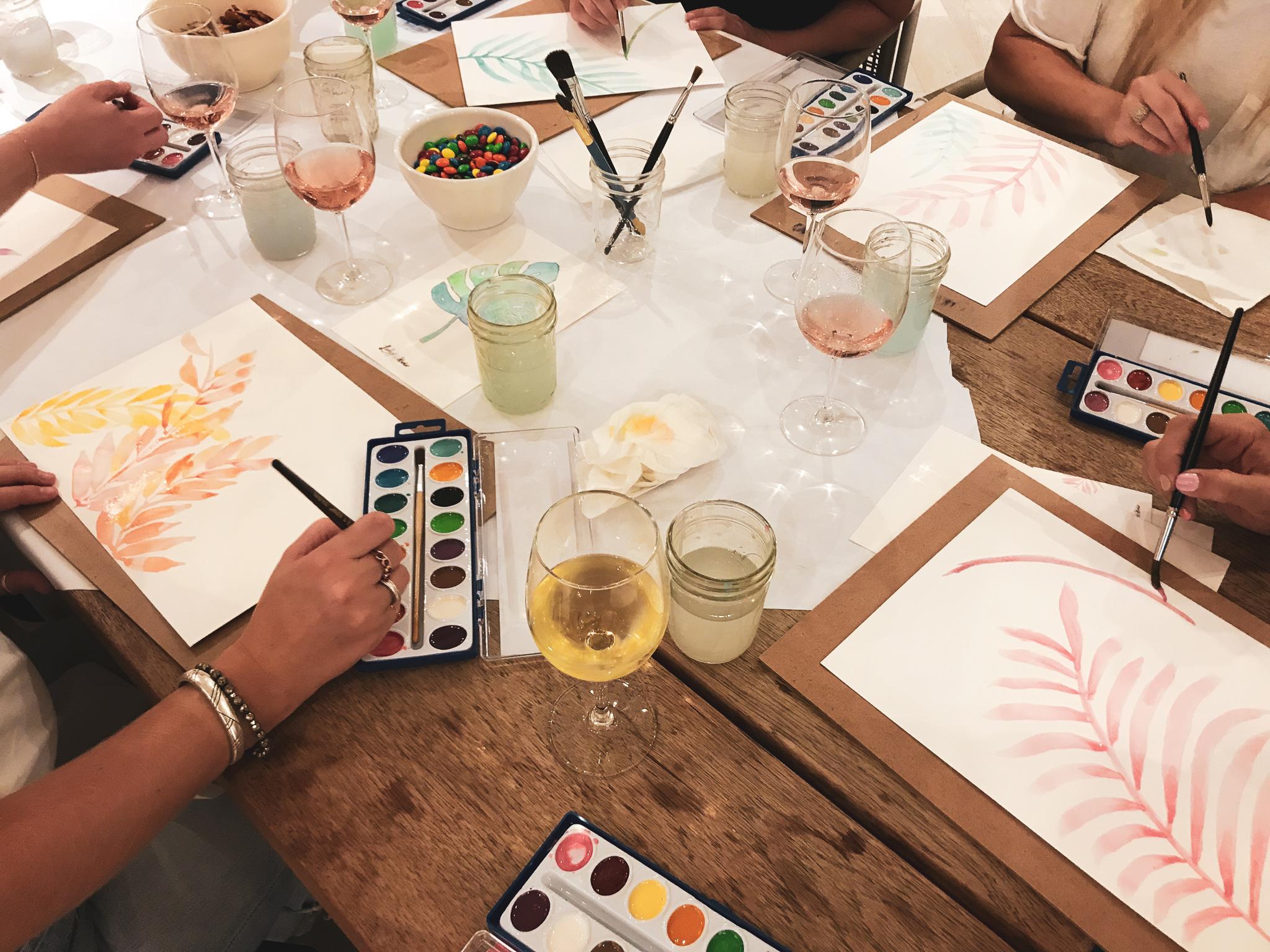 Ladyfolk Studio Watercolor and Wine workshop