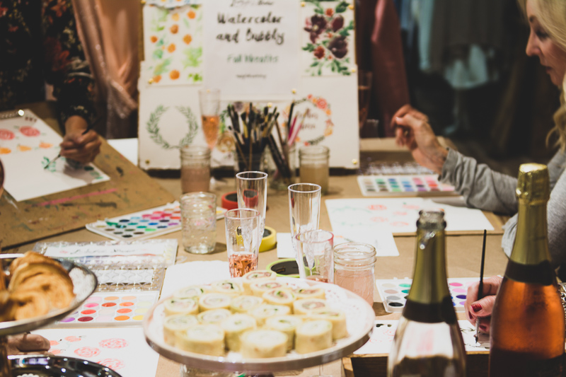 Ladyfolk Studio Watercolor and Bubbly workshop at Crystal Rose