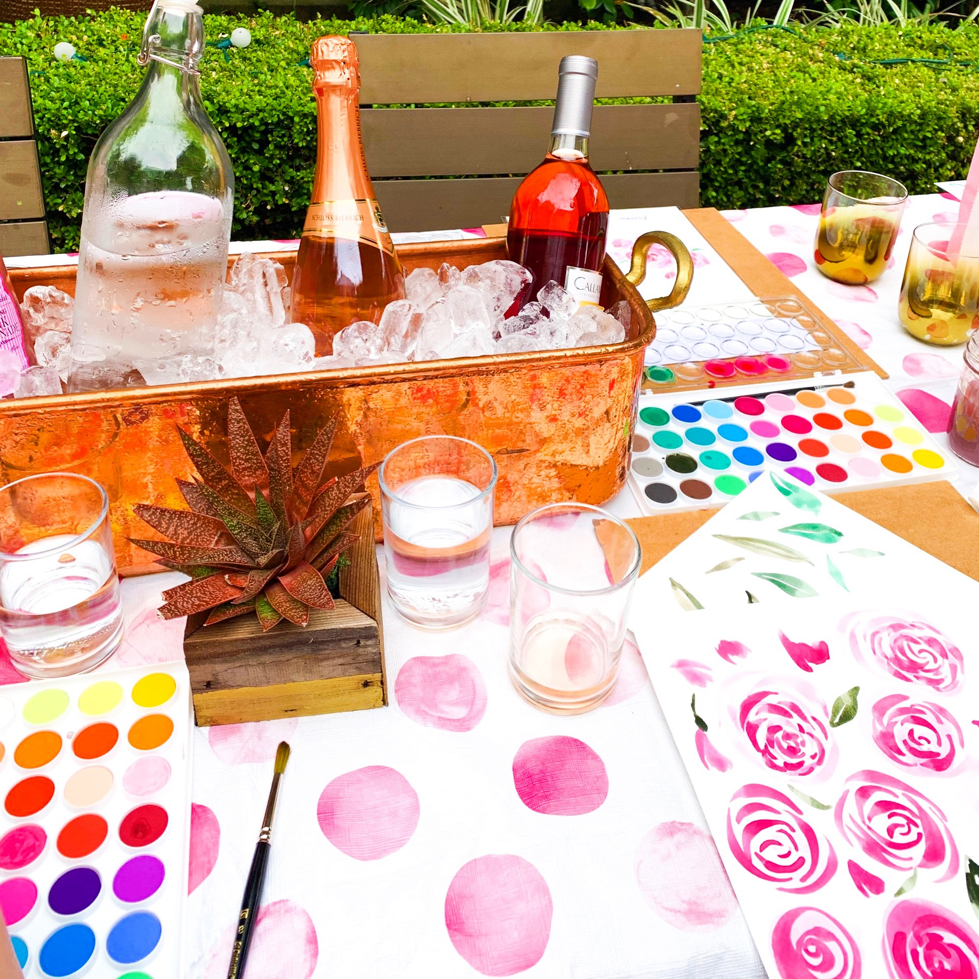 Roses and Rosé Watercolor workshop with Ladyfolk Studio, Laguna Beach