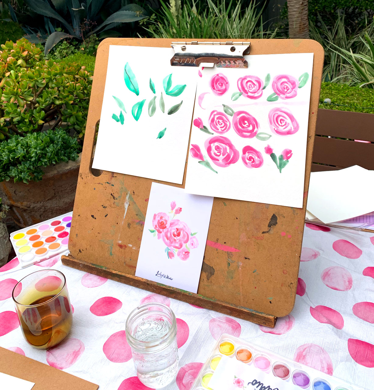 Getting Inspired with Roses and Rosé, Ladyfolk Studio Watercolor and Wine Workshop Laguna Beach