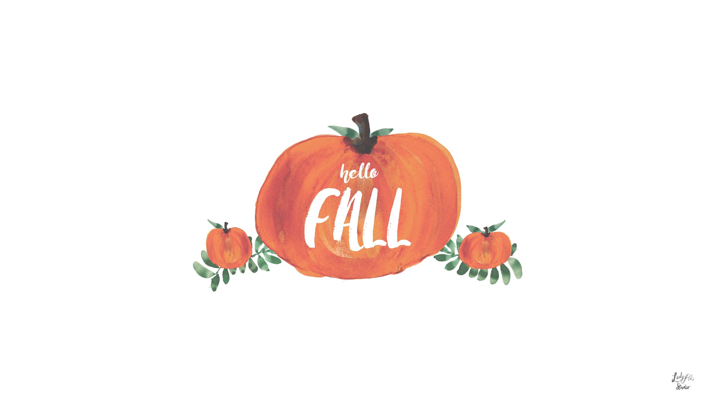Hello Fall: New pumpkin watercolor desktop art to inspire you from Ladyfolk Studio!