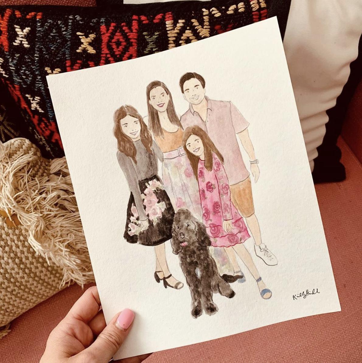 Custom Full Family Watercolor Portrait