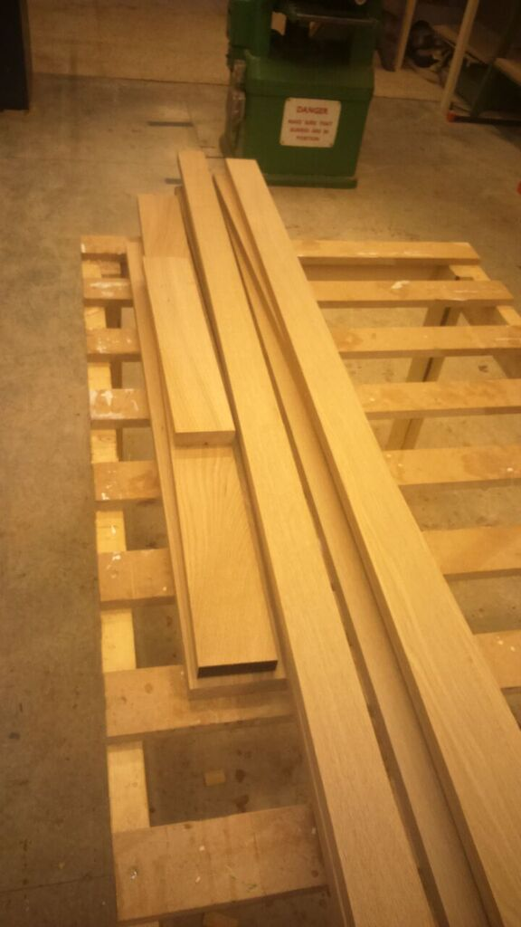 Machined oak ready for marking up