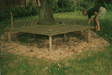 Iroko seat, this photo taken a few years later, hence the mossy appearance.