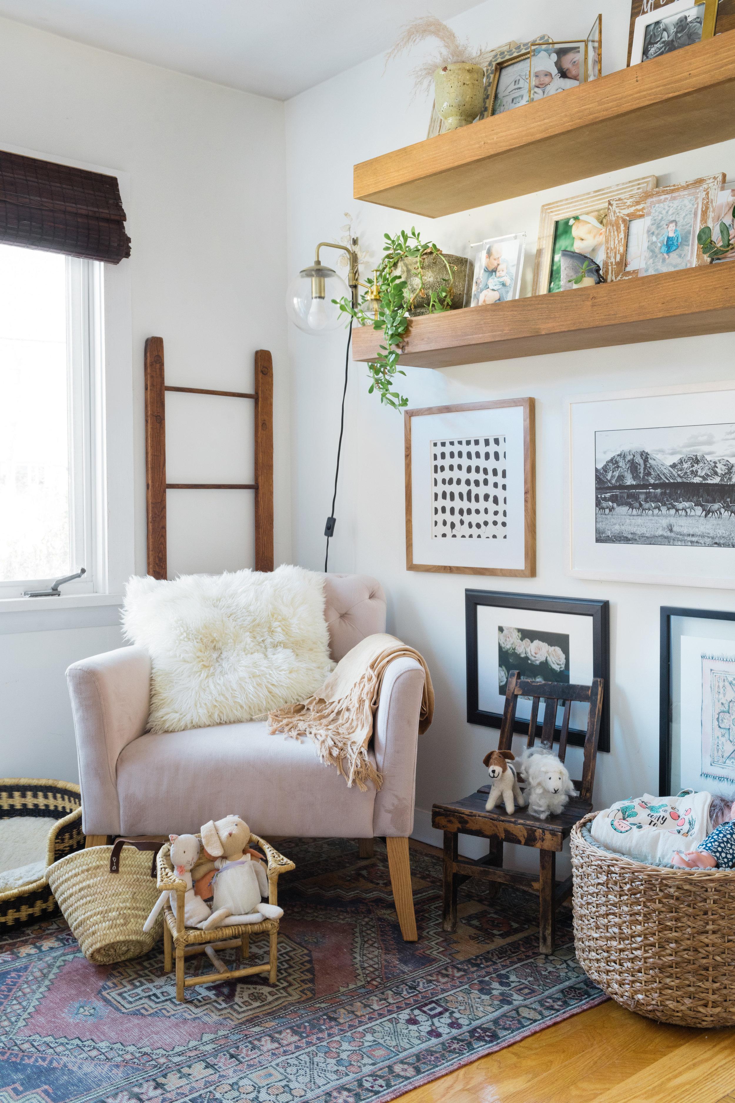 chair  /  shelves  / rug { similar } /  basket  / children's chair { similar } / vintage ladder { similar } /  sconce  /  bunny  / mini french market bag { similar } /  dog bed