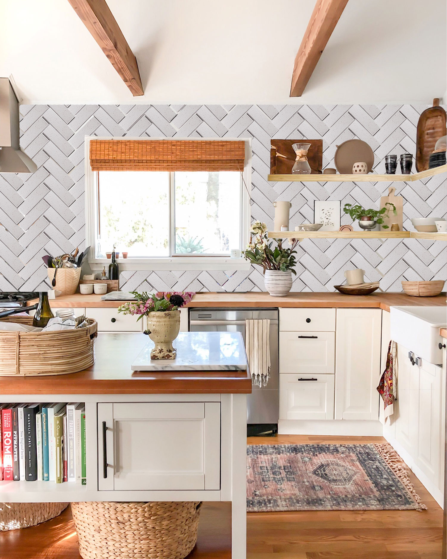 mStarr design / #farmhousedialfano kitchen tile mockup / fireclay tile