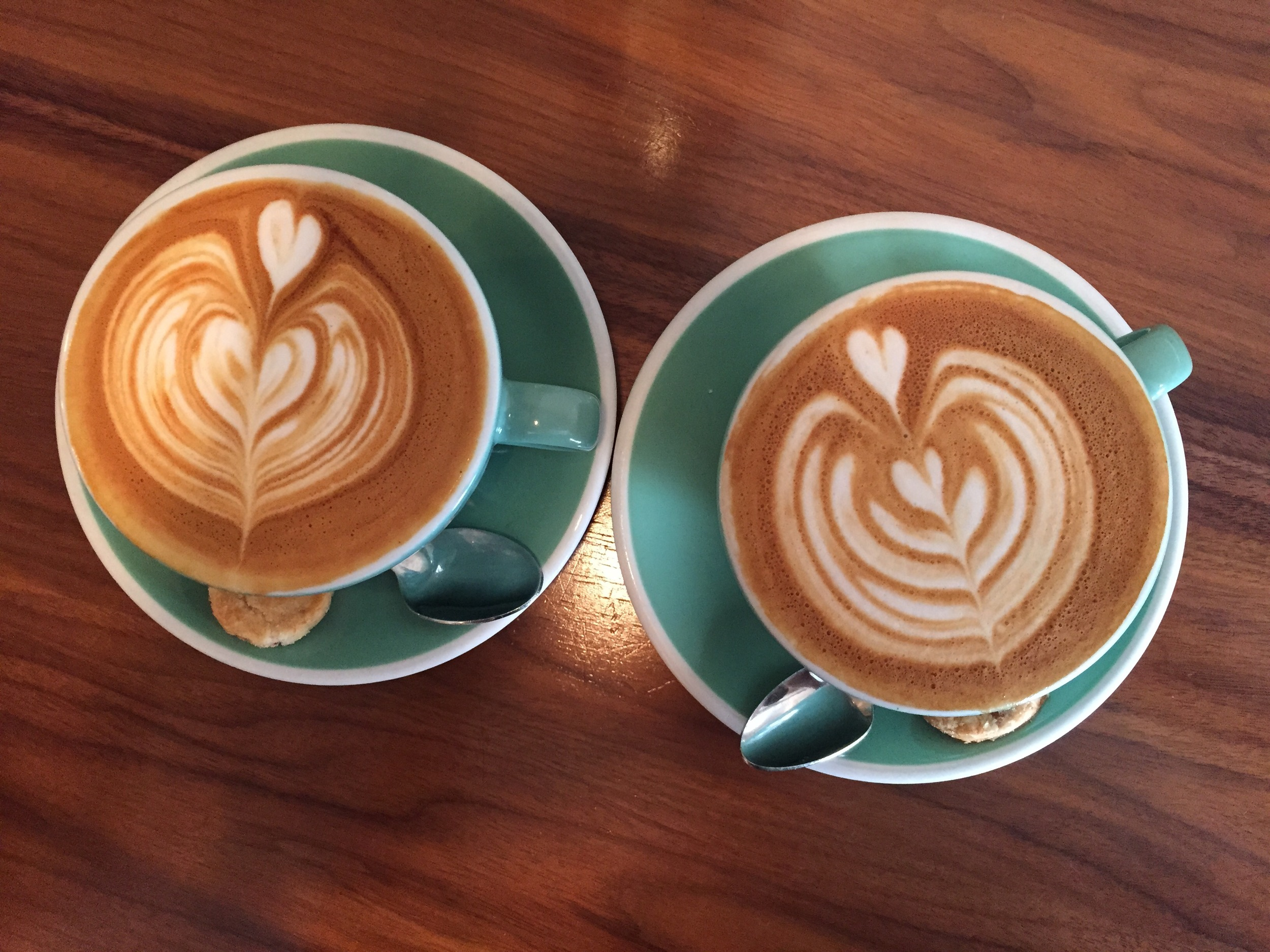 Flat whites from  Little Collins --best I had in the city.