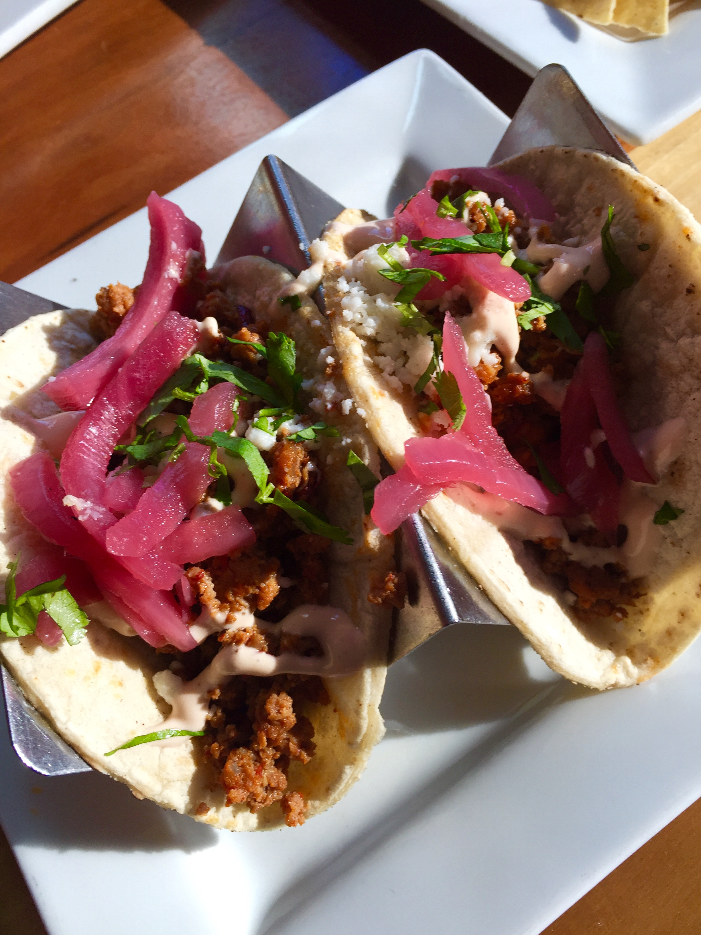 Turkey chorizo tacos from  Taqueria 27 in SLC. I go here way too much.