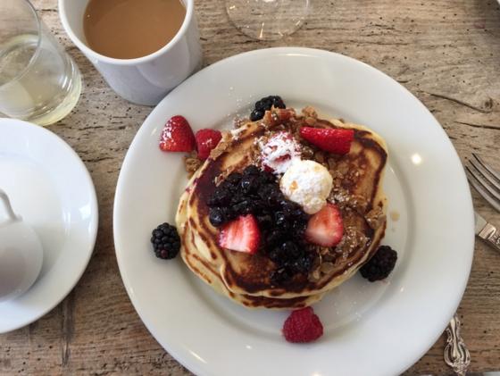 The best buttermilk pancakes for breakfast at Washington Schoolhouse Inn in Park City.