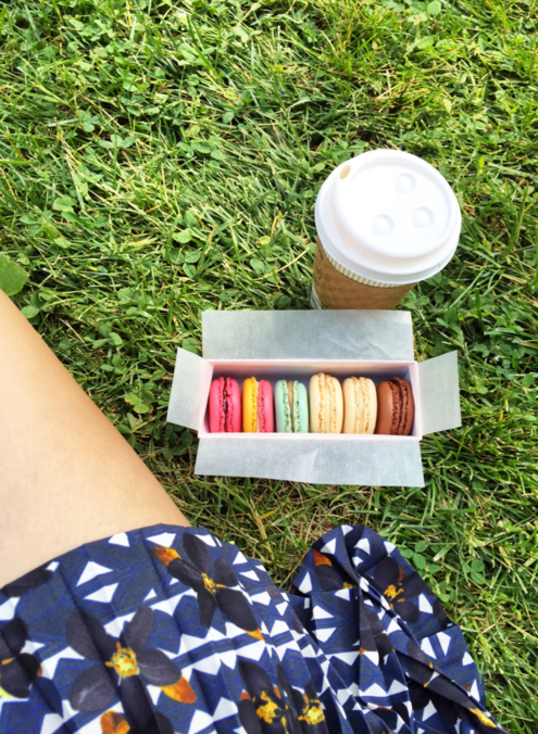 Macarons and coffee from Laduree on the UES. Very $$$ but also very good. Chewy, not too sweet, and those colors!!! I love making my own macarons because you can make around 40 for probably the cost of two store-bought macarons, but there is something so great about being able to buy six different flavors at once and enjoy them all.
