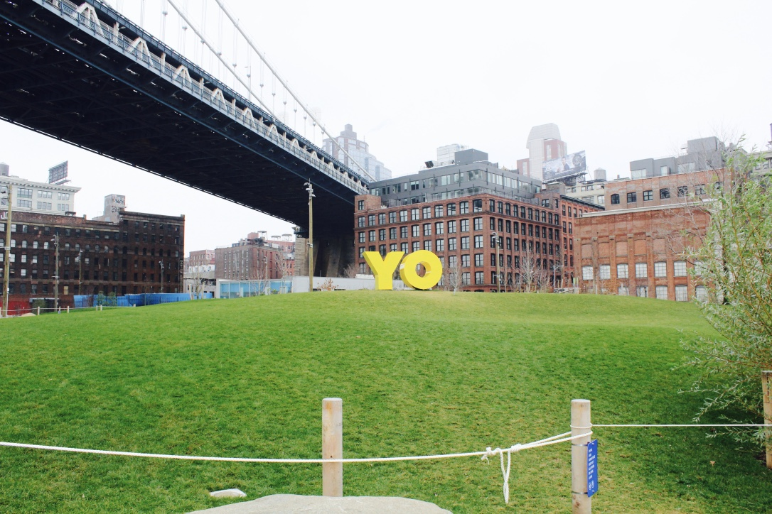 The newest art installation in DUMBO. YO from one side and OY from the other.
