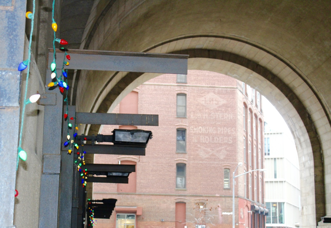 There were even Christmas lights under the overpass in Dumbo!