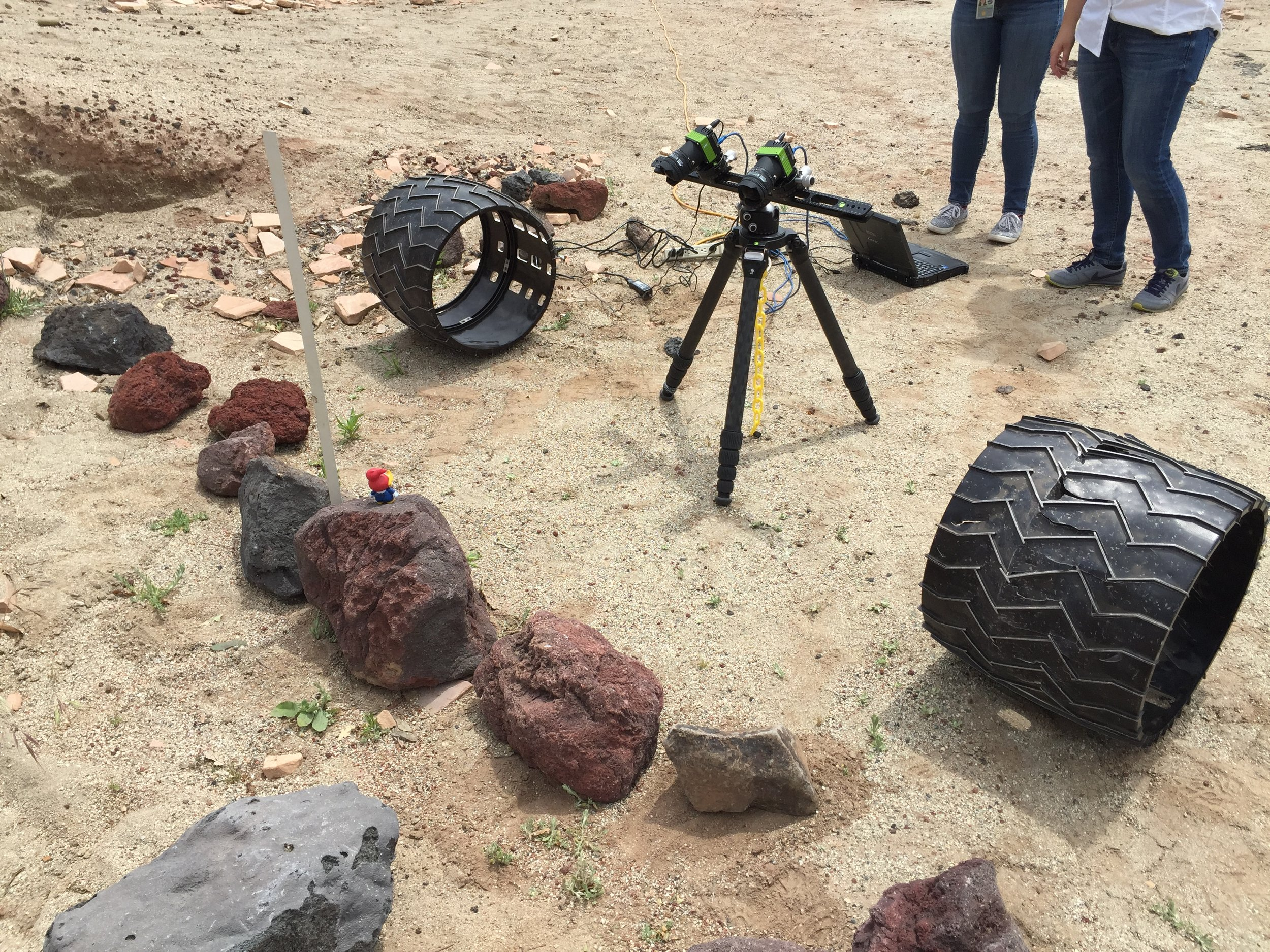 We couldn't use the whole Scarecrow rover during the simulation. However, we only needed the ability to position the wheels safely and capture imagery of the environment for this simulation. So instead, we only placed cameras and wheels within the rover workspace.