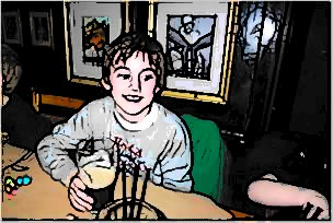 Kid in bar