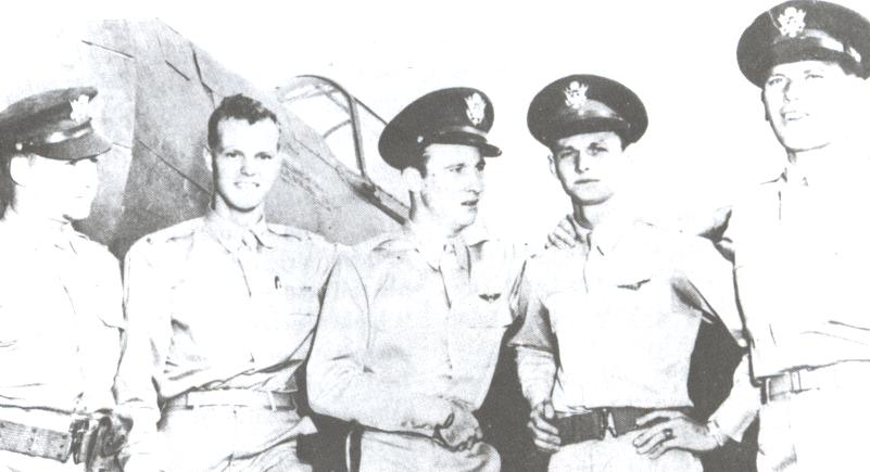 Army Air Force pilots from Wheeler Field downed nine Japanese planes    (L-R) 2d Lt Harry W. Brown, 2d Lt Philip M. Rasmussen, 2d Lt Kenneth M. Taylor, 2d Lt George S. Welch,and 1st Lt Lewis M. Sanders