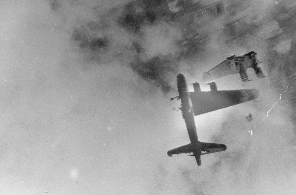 This Boeing B-17F had its left wing blown off by an Me-262 over Crantenburg, Germany. (U.S. Air Force photo)