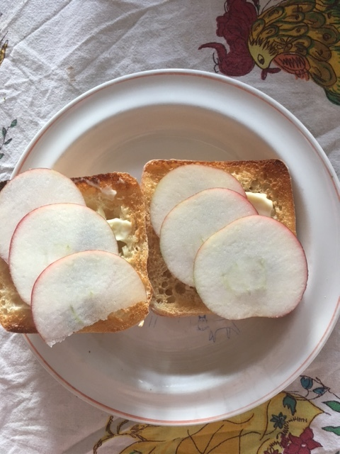 Slice apples paper thin
