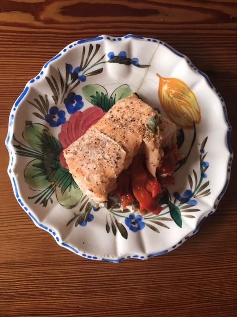 Leftover baked salmon