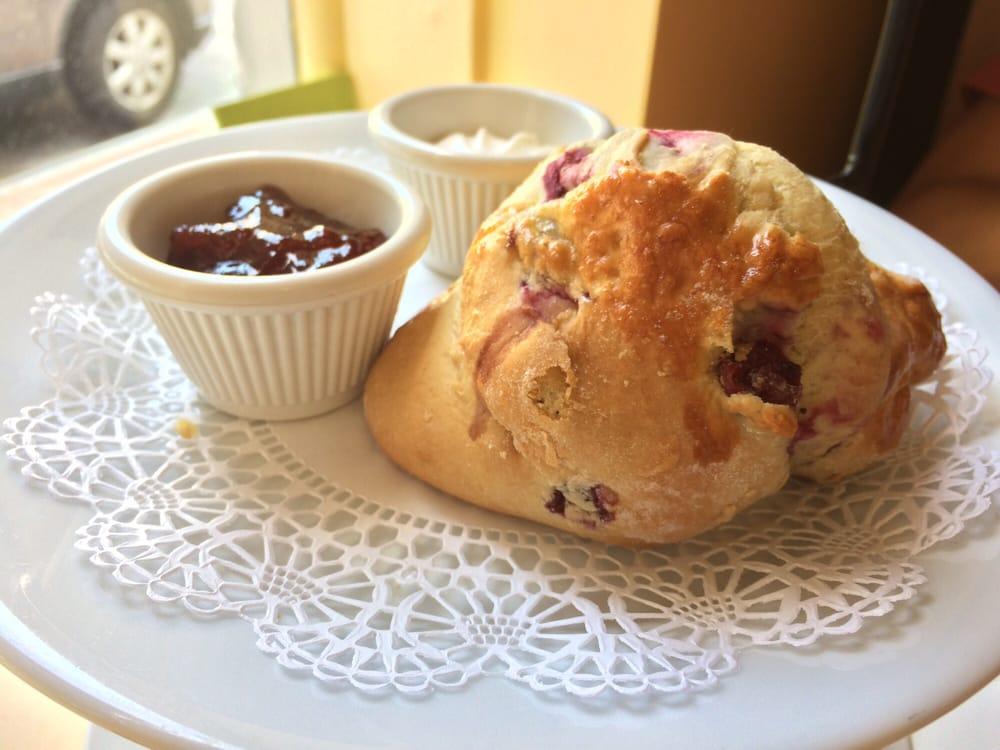 Warm cranberry scone