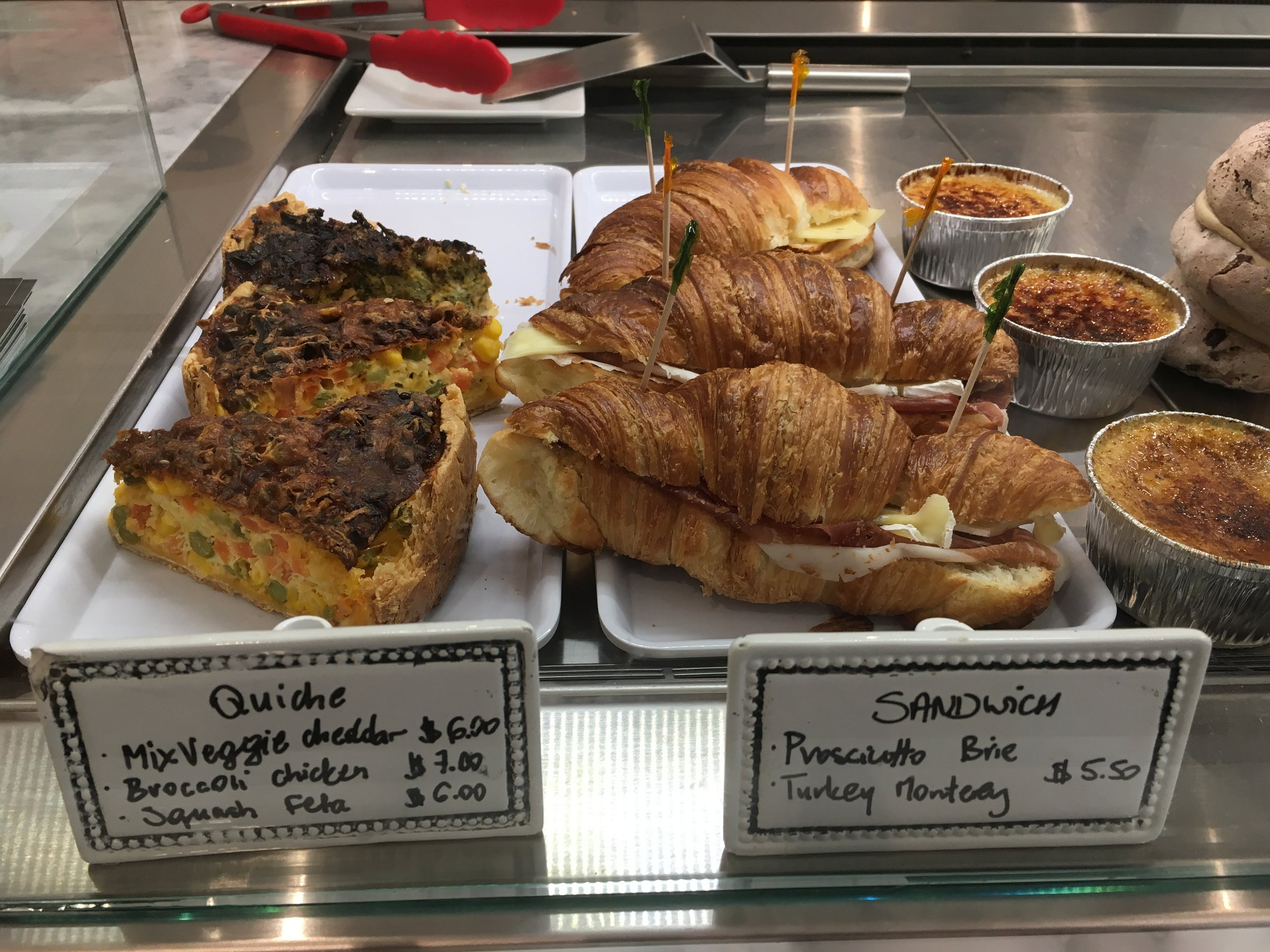 Yummy looking quiche and croissants
