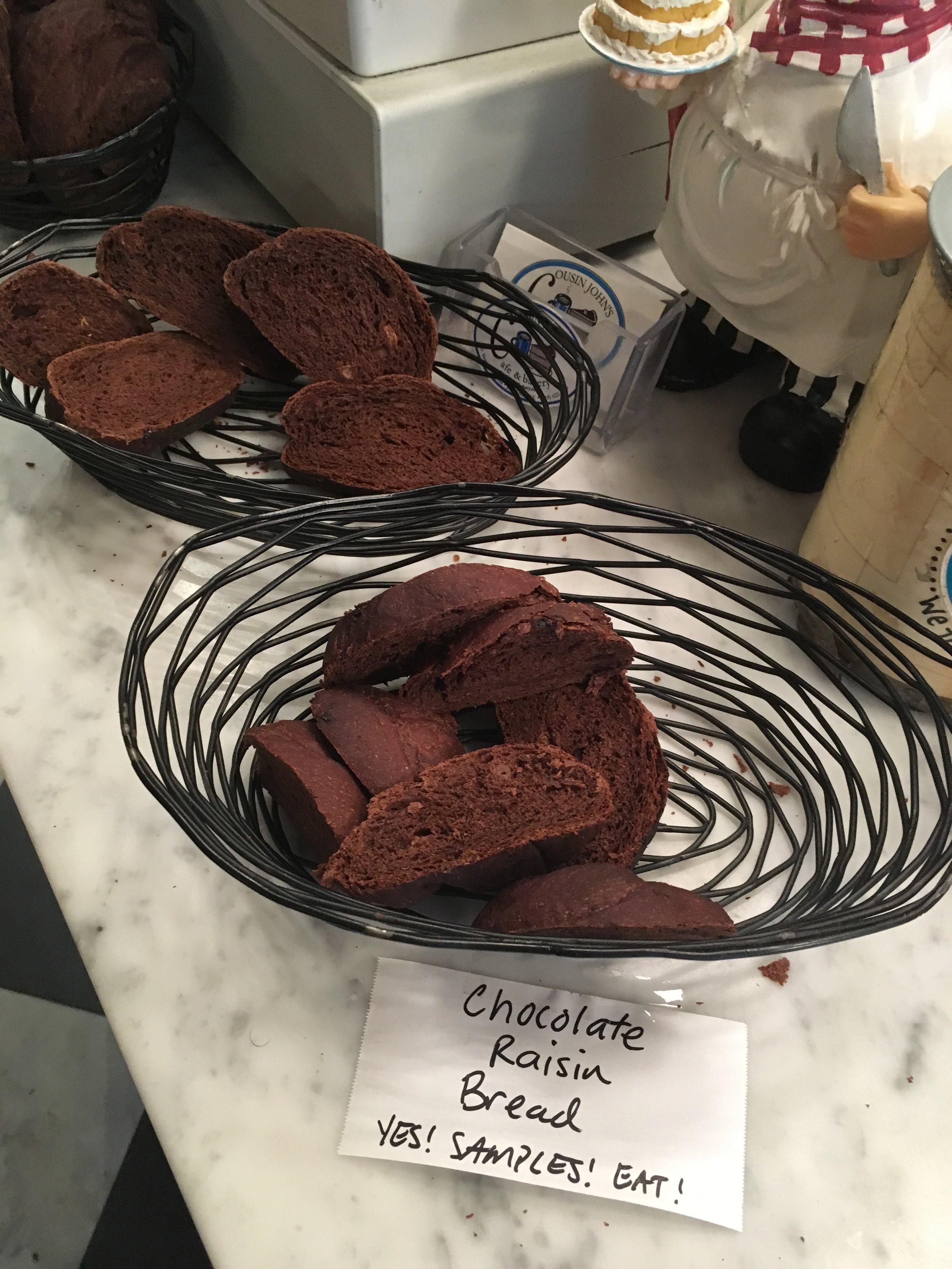 Yummy chocolate bread samples!