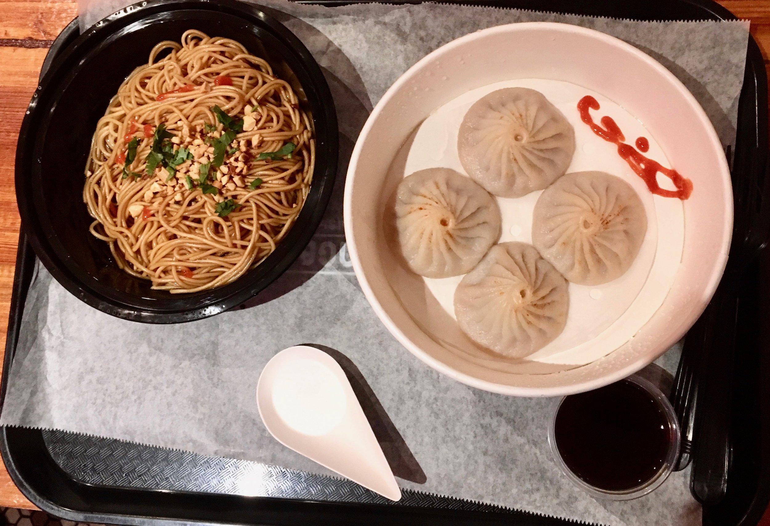 Dry noodles and pork soup dumplings