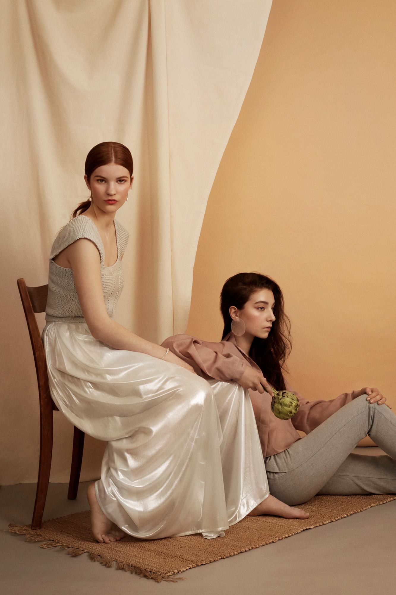 Ayleen Blouse Brachmann  Trousers Daniela Salazar  Earrings TAKK  Elsa Skirt and knitted top Anel  Earrings & bracelet TAKK