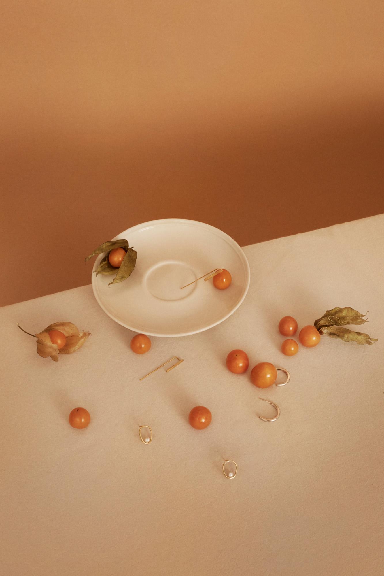 Orbit pearl earrings TAKK Gold earrings Candi Berlin Silver half hoop earrings Kiki Dieterle