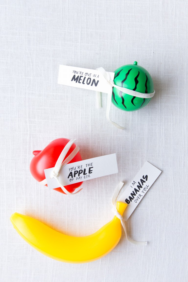 These dollar store plastic fruits from  Say Yes  blog are such a cute and creative way to show your Valentine how much you care.