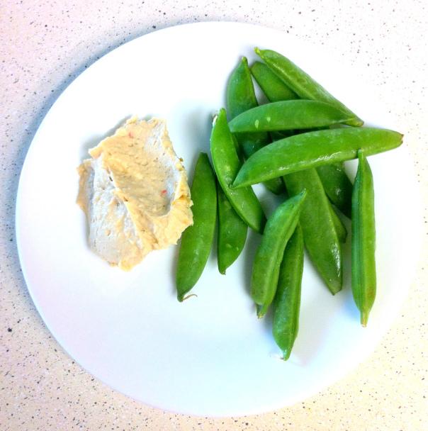 snap peas with hummus
