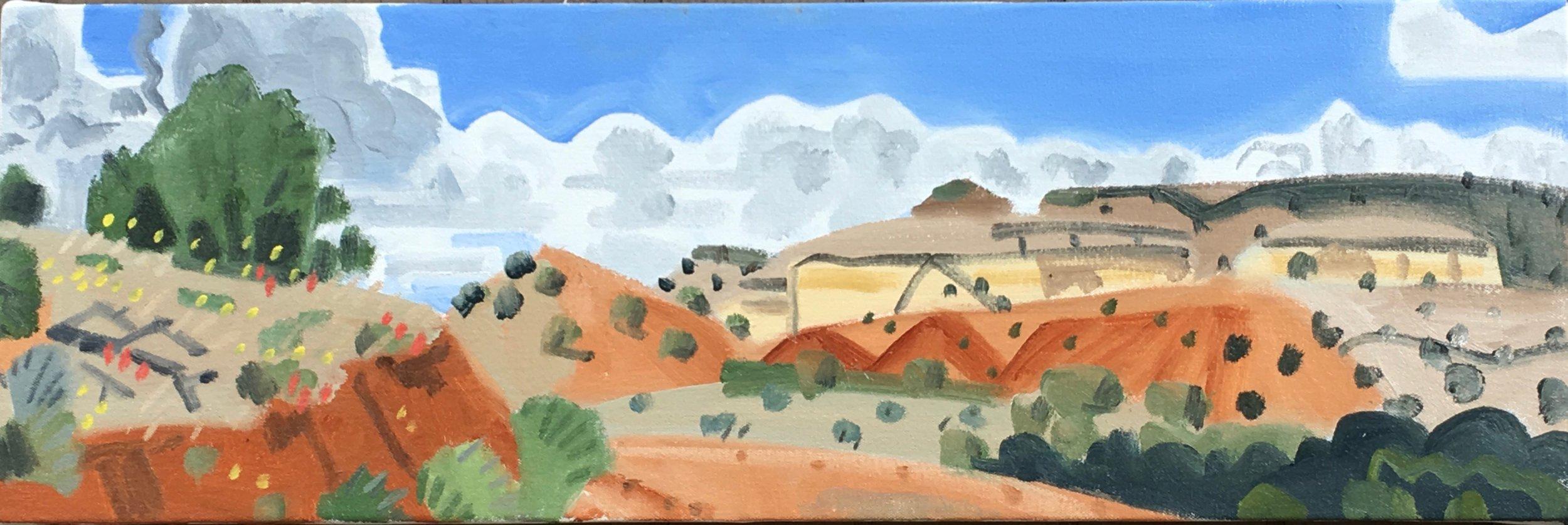 "Wild Flowers on Monastery Road, 10 x 30"", oil on canvas, 2017"