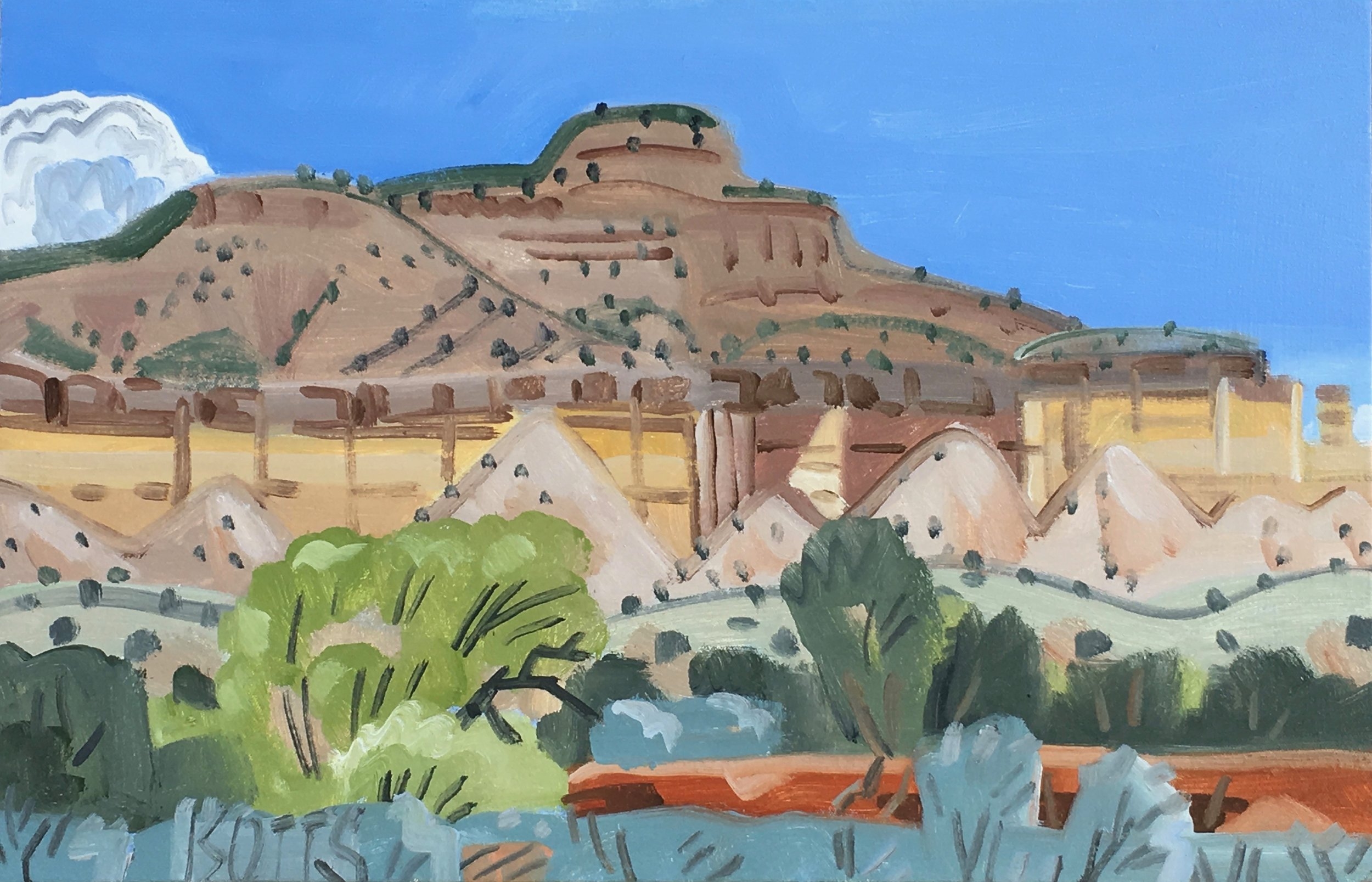 "Ghost Ranch from Highway, 16 x 24"", oil on canvas, 2017"