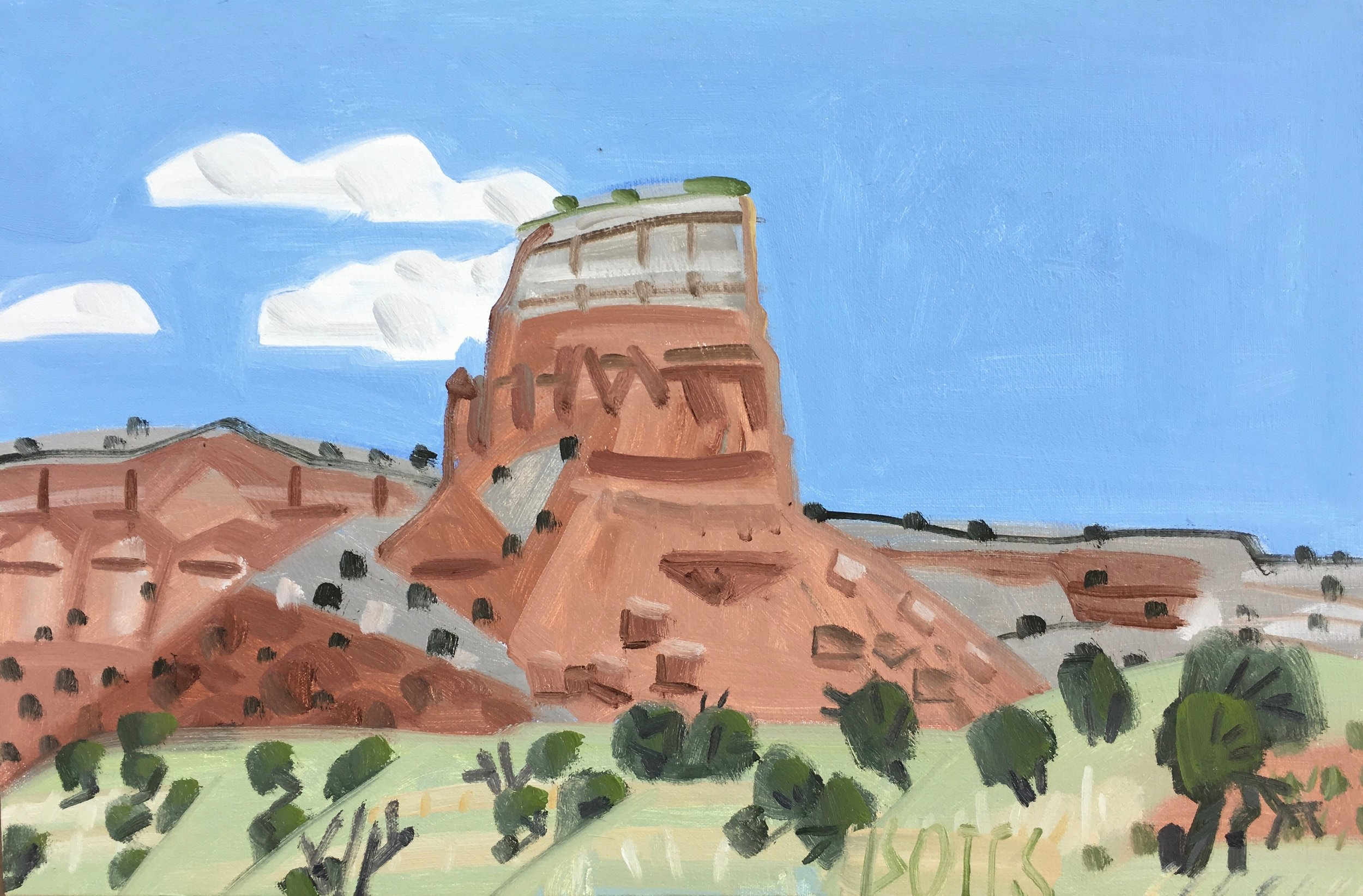 """Ghost Ranch Monument, 16 x 24"""", oil on canvas, 2017"""