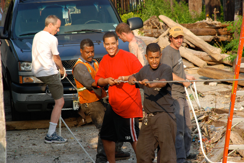 Everyone in the neighborhood showed up to help.