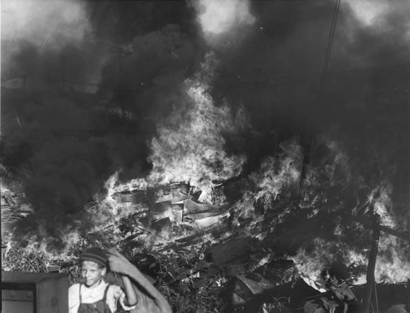 One of the shanty towns at Kingsbury Run burned by Eliott Ness, 1939