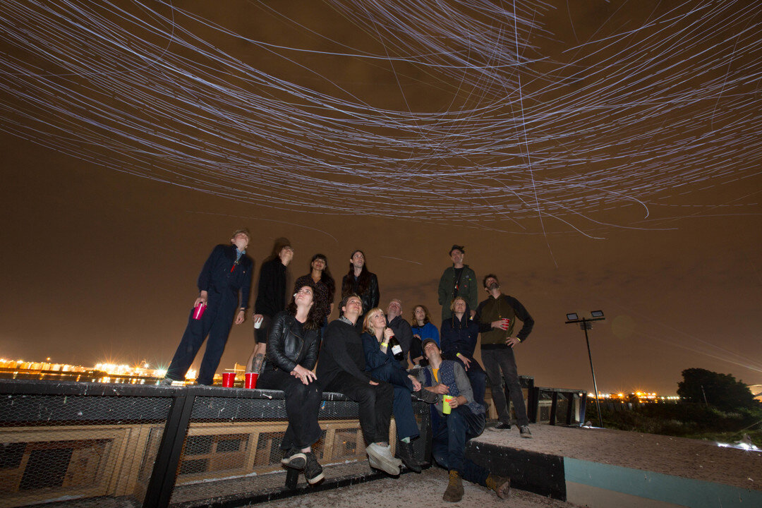 Closing night after hours rooftop celebration.  Maddy Joyce, ?,  Bakul Patki, Nicol Parkinson, Duke Riley, Laurel Thornburg, Victor J Webster, Kitty Joe Sainte-Marie, Steve Smith, Fiona Agger, Robin Frohart, Nate Hall, Preston Jahn.  Photo by Will Star