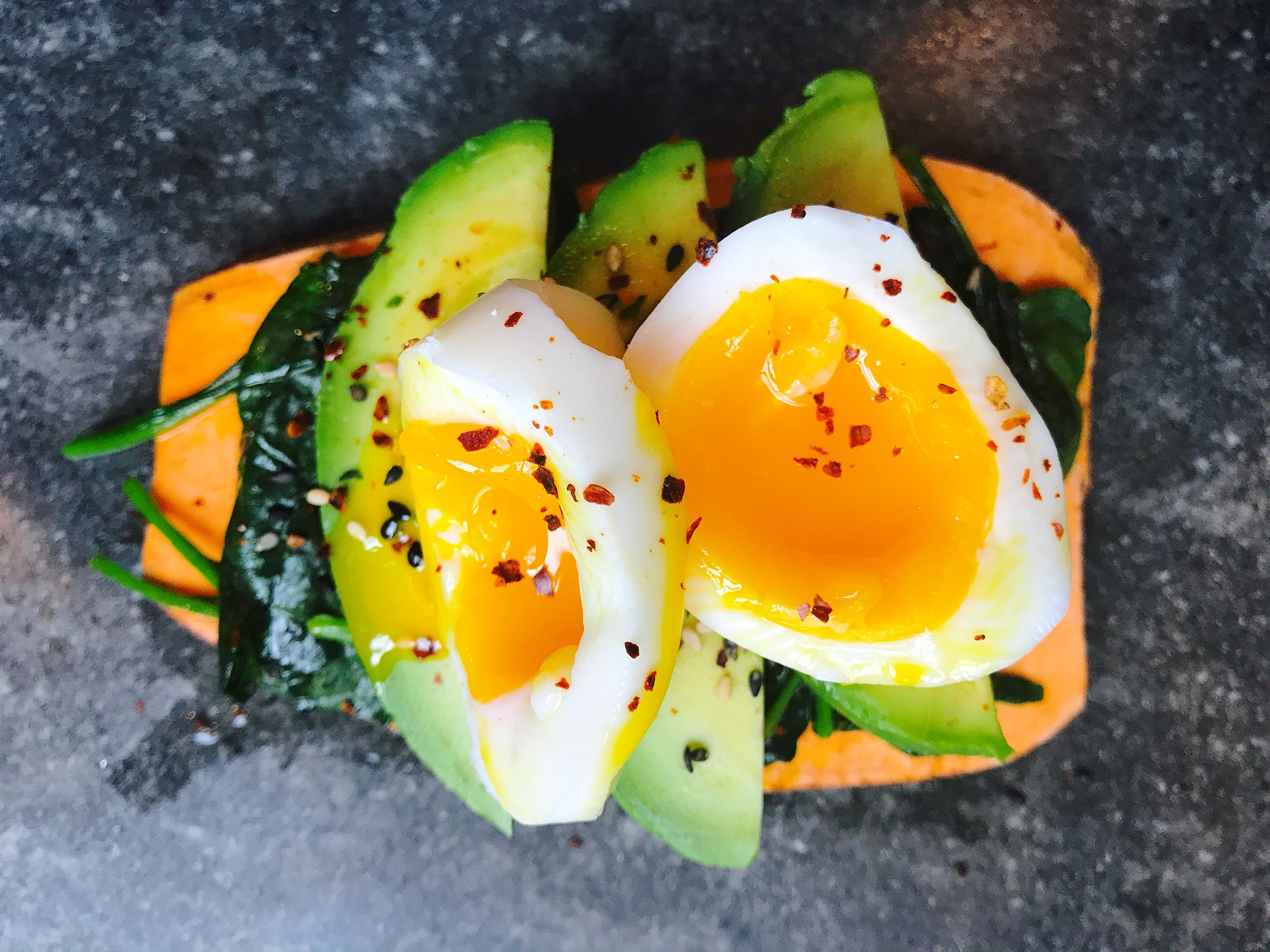 Sweet potato toast with spinach- avocado and egg.jpg