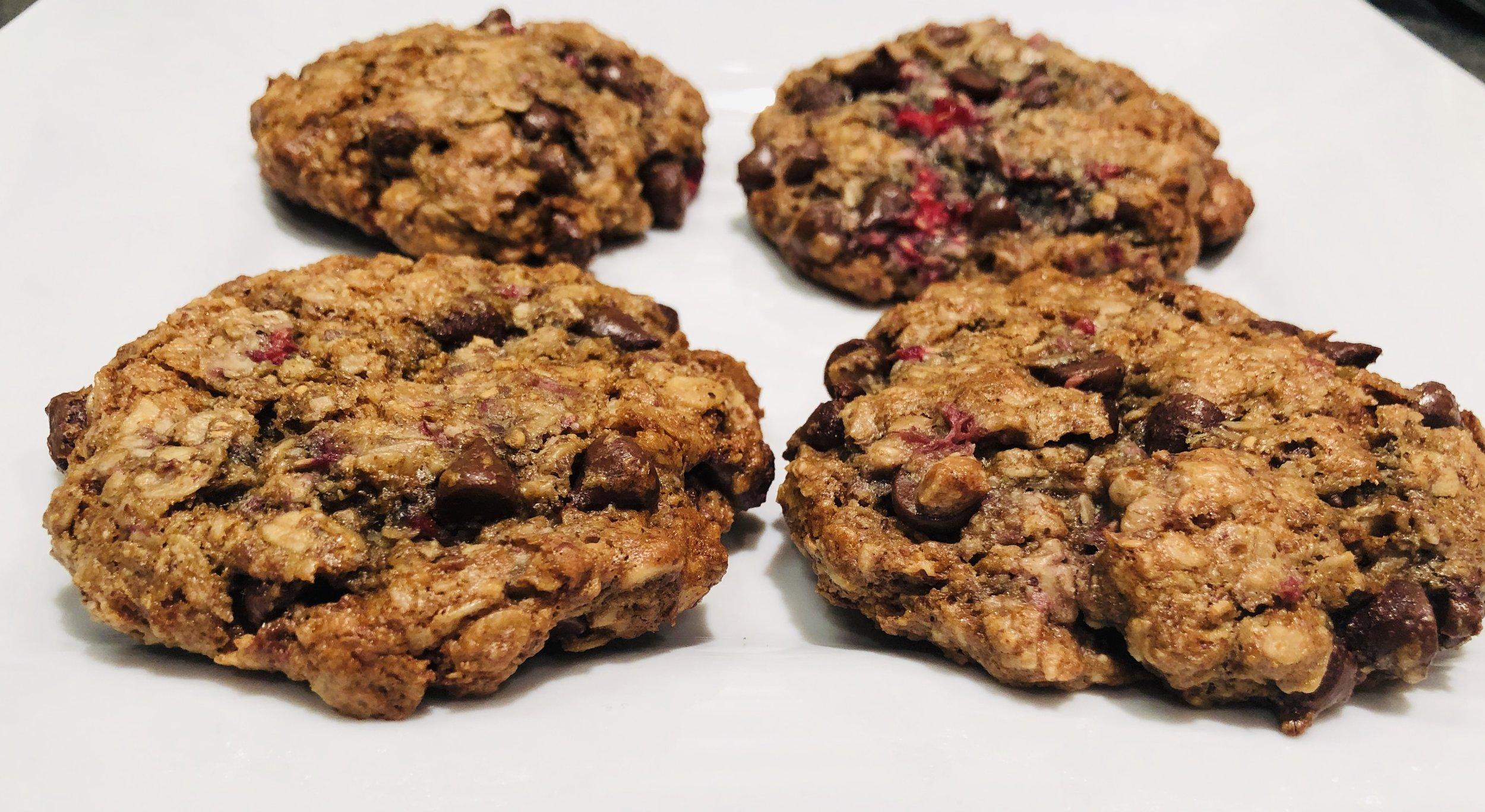 Chocolate Raspberry oatmeal almond butter cookies.jpg