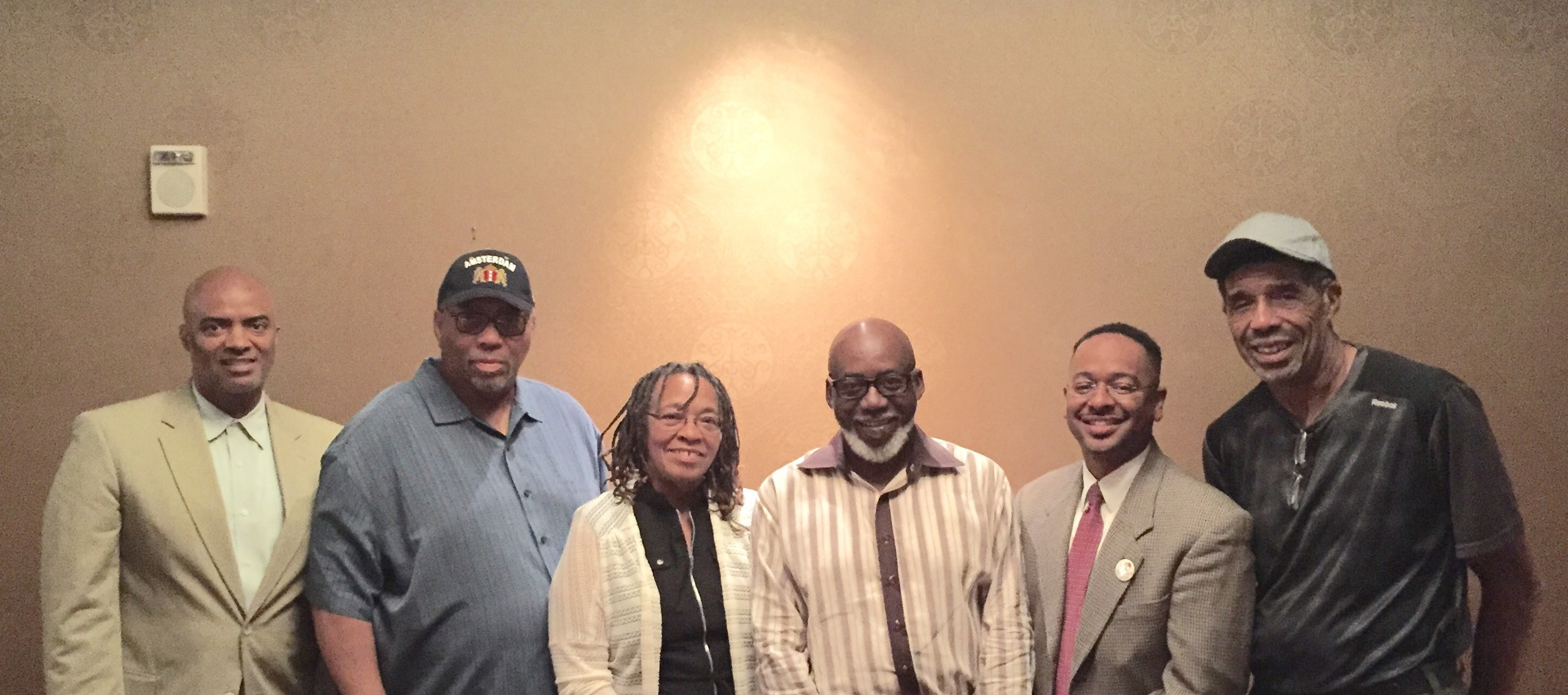 "Conference presenters included (l to r) Jonathan Mason; Allen Johnston; professor Sandra ""SANA"" Foster; Charles Mitchell, director of the Jus Blues Foundation; Dr. Rolando Herts; and Rojene Bailey."