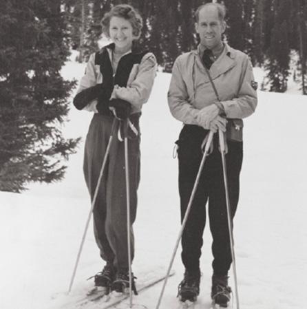 Renie and David Skiing