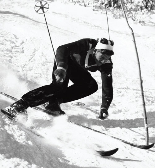 George Schneider competing in the 1950 FIS Championships in Aspen, Colorado. Photo: Aspen Historical Society